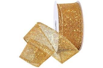 (3.8cm  x 10 Yd, Gold) - Morex Blaze Shiny Glitter Ribbon, Wired Polyester, 3.8cm by 10 Yards, Gold