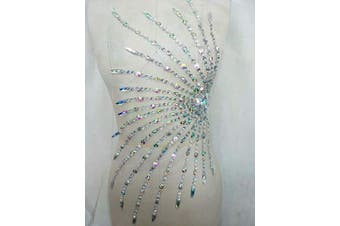 (Front AB) - Rhinestone Applique with Crystal Trim 3D lace Patches Great for DIY Neckline Bodice Wedding Bridal Prom Dress Front and Back A12 (Front AB)