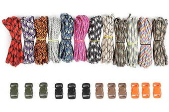 ACKEIVTO 250kg Survival Paracord Combo Crafting Kits in 3m in 12 Colours with Pack of 12 Buckles