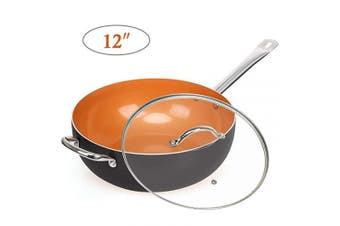 """(12"""" Wok Pan with Lid) - Nonstick Copper Pan 12"""" Wok Pan with Lid, Deep Frying Pan with Induction Base & Stainless Steel Handle, Suitable for Cooking Saute Vegetables, Steaks( Dark)"""