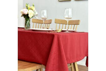 (130cm  x 180cm , Red) - maxmill Jacquard Poly-Cotton Tablecloth Geometric Pattern SpillProof, Water Resistant Wide Hem Heavy Weight Soft Table Cloth for Kitchen Dining Tabletop Decoration Rectangle, Red, 130cm x 180cm