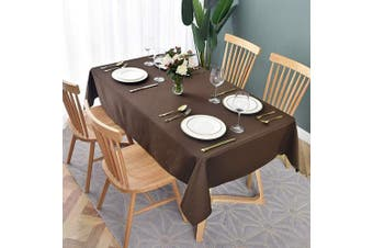 (150cm  x 260cm , Geo Chocolate) - maxmill Jacquard Table Cloth Geometric Pattern Water Proof Wrinkle Free Heavy Weight Soft Tablecloth Decorative Fabric Table Cover for Outdoor and Indoor Use Rectangular 150cm x 260cm Chocolate