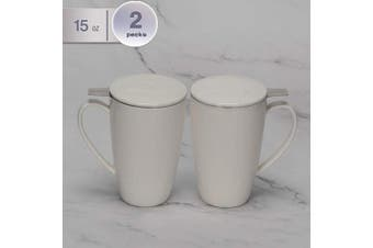(White) - amHomel Porcelain Tea Mug With Infuser Basket and Lid for Steeping 440ml Cups, Mugs Set of 2 White Colour