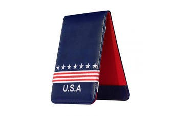 """(4"""" x 6.3"""") - Craftsman Golf USA Star Red Stripes Blue Pu Leather Scorecard & Yardage Holder Cover Also Can Customization Your Name Version"""