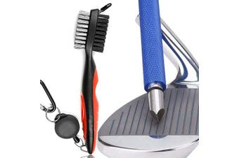 (blue sharpener) - Gzingen Golf Tool Set, Golf Club Groove Sharpener and Retractable Golf Club Brush, Re-Grooving Tool and Cleaner for Wedges & Irons for Golfers, Practical Sharp and Clean Kits
