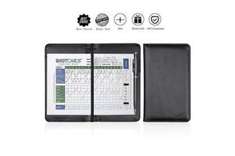 (Black) - ONLVAN Golf Scorecard Holder Leather Yardage Book Cover with Pen Pocket Fit Most Back Pocket (Black)