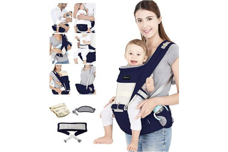 Azeekoom Baby Carrier, Ergonomic Hip Seat, Baby Carrier Sling with Fixing Strap, Bibs, Shoulder Strap, Head Hood for Newborn to Toddler from 0-36 Month (Dark Blue)