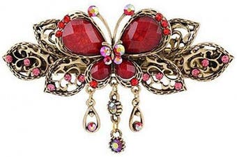 (Red) - Women Chic Hair Clip Hairpin Retro Butterfly Style Hair Clip Vintage Alloy Rhinestone Tassel Barrette Hair Accessories (Red)