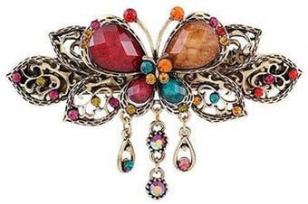 (Multicolor) - Women Chic Hair Clip Hairpin Retro Butterfly Style Hair Clip Vintage Alloy Rhinestone Tassel Barrette Hair Accessories (Multicolor)