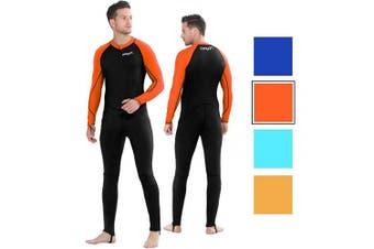 (XX-Large for Men, Black/Orange-Men) - COPOZZ Diving Skin, Men Women Youth Thin Wetsuit Rash Guard- Full Body UV Protection - for Diving Snorkelling Surfing Spearfishing Sport Skin