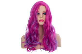 (Adults) - Angelaicos Audrey Wig Kids Adult Long Wavy Purple Red Cosplay Costume Party Wig (Adults)