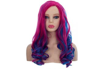 (Kids) - Angelaicos Audrey Wig Kids Adult Long Curly Blue Red Cosplay Costume Party Wig (Adults)