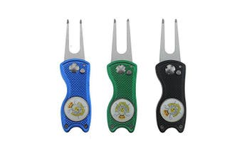 NicePro 3PCS Golf Divot Repair Tool - Metal Switchblade with Detachable Ball Marker (3 Colours Golf Divot Tools)
