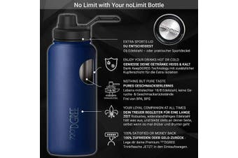 (Sapphire Blue, 410ml) - 720°DGREE Thermo Water Bottle noLimit – 410ml, 530ml, 710ml, 950ml 1200ml | Insulated Stainless Steel Flask + Free Sports Cap