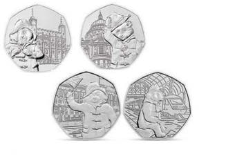 50p RM 2018/2019 Paddington Bear Set of 4 x Coins,St Paul's,Tower,Palace & Station,Uncirculated from sealed bag in capsules