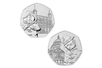 50p 2019 UNC Paddington Bear Coins,Set of 2 - at St Paul's Cathedral & at The Tower of London