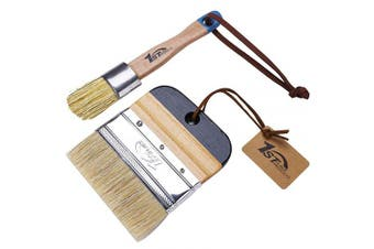 1st Place Products Chalk & Wax Flat Brush Set - Pure Natural Bristles - Excellent for Large & Detailed Surfaces - Painting, Waxing, DIY, Home Decor