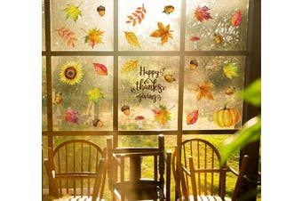 Fall Leaves Window Clings Decorations - Thanksgiving Maple Autumn Decals Party Decor Ornaments