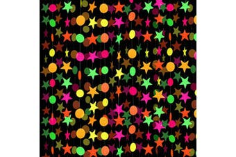 8 Pieces Neon Paper Garland Circle Dots Garland Neon Star Garland Hanging Decorations for Birthday Wedding Black Light Reactive UV Glow Party