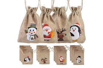 LOKIPA 12 Christmas Jute Burlap Bags Pouches with Drawstring Candy Bags for Christmas Favours