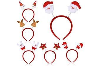 BBTO Christmas Headband Sets Christmas Head Boppers Headwear for Women Girls Kids Snowman Snowflake Santa Claus Headband Christmas Hat Deer Headbands