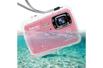ISHARE Waterproof Kids Camera, 21MP HD Underwater Digital Camera for Kids with 5.1cm LCD, 8X Digital Zoom, Flash and Mic for Girls/Boys (Pink)