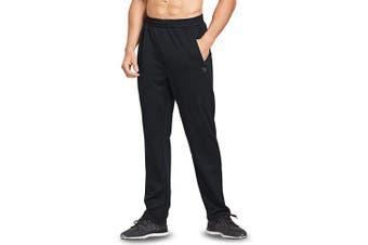 (XX-Large, Black) - BALEAF Men's Athletic Joggers Open-Bottom Running Gym Pants Zipper Pockets Sports Pants