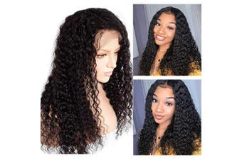 (46cm , #1B Natural Black) - Glueless Human Hair Wigs Deep Curly Wave Lace Front Wigs with Baby Hair Pre Plucked Hairline Thick 150% Density Curly Lace Frontal Wigs for Women Full Head 100% Unprocessed Virgin Hair Long 46cm