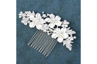 (Silver) - Asooll Wedding Flower Hair Comb Bride Crystal Hair Pieces Bridal Hair Accessories for Women and Girls (Silver)