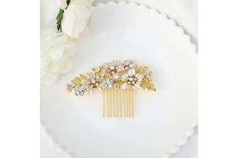 (Gold) - Asooll Wedding Flower Hair Comb Bride Crystal Hair Pieces Bridal Hair Accessories for Women and Girls (Gold)