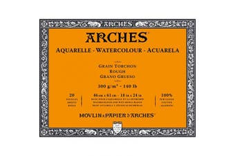 (Rough, 46 x 61 cm) - Arches Watercolour Block, 300 GSM, Rough, 46 x 61 cm, Wood, White
