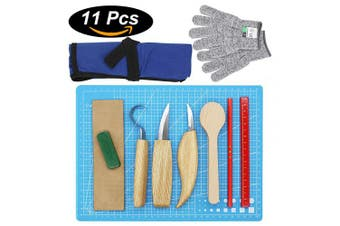 CKE Wood Carving Tools Set for Spoon Carving 3 Knives in Tools Roll Leather Strop and Polishing Compound Hook Sloyd Detail Knife