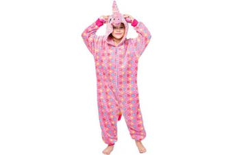 (2-3 Years, Unicorn(rose)) - Coralup Boys Girls Onesie Hooded Pyjamas Adults Halloween Costume Cosplay Supersoft Flannel One Piece Sleepsuit PJS Nightwear(Unicorn/Dinosaur/Lion)