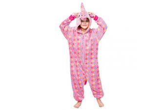 (3-4 Years, Unicorn(rose)) - Coralup Boys Girls Onesie Hooded Pyjamas Adults Halloween Costume Cosplay Supersoft Flannel One Piece Sleepsuit PJS Nightwear(Unicorn/Dinosaur/Lion)