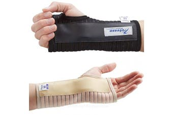(Black, Small Left) - Actesso Breathable Wrist Support Brace Splint - Ideal for Carpal Tunnel, Sprains, and Tendonitis (Black, Small Left)
