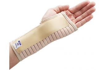 (Beige, Small Left) - Actesso Breathable Wrist Support Brace Splint - Ideal for Carpal Tunnel, Sprains, and Tendonitis (Beige, Small Left)