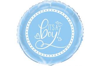 (Blue, Foil Balloon) - Unique Party 73397 46cm Foil Blue Hearts Baby Shower Balloon