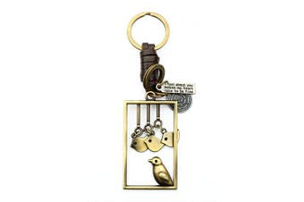 (Birds Picture) - AuPra Birds Picture Leather KeyRing Gift Women & Men Best Friend Home KeyChain Mum & Dad Teacher Handbag Charm Key Ring Girl & Boy Car Pendant