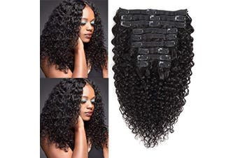 (46cm , Jerry Curly) - Rolisy Jerry Curly Clip in Human Hair Extensions,Real Thick Soft 8A Grade Human Hair for Women,Jerry Curly Hair Clip ins,Natural Black Colour,10 Pcs,120 Gramme,46cm