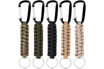 Auranso 5 Pcs Paracord Keychain with Carabiners Lanyard Clip Keyring Strong Steel Key Holder for Outdoor Camping Hiking Backpack Survival Tool
