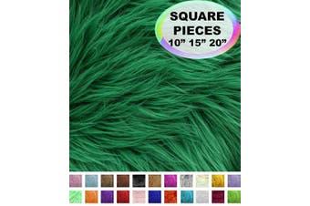 (70cm  X 70cm , Kelly Green) - Barcelonetta | Faux Fur Squares | Shaggy Fur Fabric Cuts, Patches | Craft, Costume, Camera Floor & Decoration (Kelly Green, 70cm X 70cm )