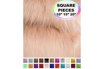 (25cm  X 25cm , Blush) - Barcelonetta | Faux Fur Squares | Shaggy Fur Fabric Cuts, Patches | Craft, Costume, Camera Floor & Decoration (Blush, 25cm X 25cm )