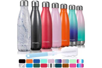 (1000ML, Marble) - arteesol Water Bottle, Stainless Steel Insulated Water Bottles Double Walled Vacuum Flask, BPA Free Leak-Proof Slim Mouth Drink Flask-Keep Cold and Hot- 500/750/1000 ml Portable Sport Bottle