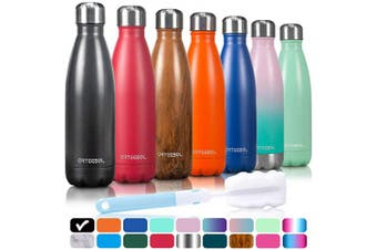 (1000ML, Midnight Black) - arteesol Water Bottle, Stainless Steel Insulated Water Bottles Double Walled Vacuum Flask, BPA Free Leak-Proof Slim Mouth Drink Flask-Keep Cold and Hot- 500/750/1000 ml Portable Sport Bottle