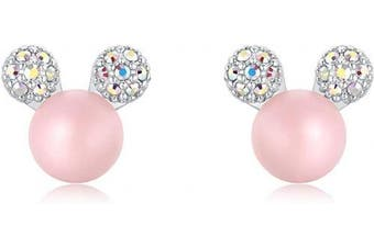 (Pink) - Ailin & Co. Lucky Mickey Mouse Pearl Earrings 925 Sterling Silver Stud Earrings for women girls, made with Crystal and Pearl