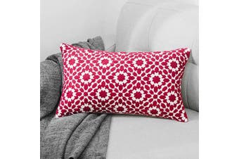 (F-red-1pcs) - TEWENE Oblong Cushion Cover, 12x20 Inch / 30x50cm Anti-fading Cotton Linen Embroidery Sofa Throw Pillowcase Set Home Decoration for Bedroom, Living Room, Couch, Car, Patio (F-Red-1PCS)
