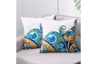 (A03-2pcs) - TEWENE Square Cushion Cover Set of 2, 18x18 Inch / 45x45cm Anti-fading Cotton Linen Embroidery Sofa Throw Pillowcase Set Home Decoration for Bedroom, Living Room, Couch, Car, Patio (A03-2PCS)