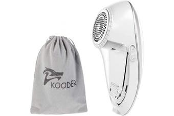 (Silver White) - KOODER Sweater Shaver, USB Rechargeable Fabric Shaver, Lint Remover. Double Battery Lasting and Effective Lint Shaver (Silver White)