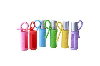 (10ml(1/3 Ounce)) - 6pcs 5ml 10ml 15ml Silicone Roller Bottle Holder Sleeve,Essential Oil Carrying Case Colourful Travel Protective Cover with Hanging Rope Essential Oil Holder Accessories (10ml(1/3oz))