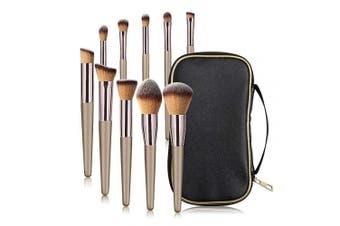 MAANGE 10 Pcs Travel Face Makeup Brushes Professional Eye Foundation Makeup Brush Set Small Soft Blending Makeup Brushes Set Kit with Case Black Bag